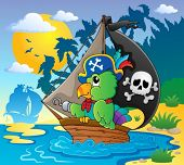 Image with pirate parrot theme 2 - vector illustration.