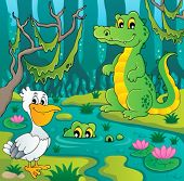 picture of crocodilian  - Swamp theme image 3  - JPG