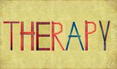 Earthy background image and design element depicting the word THERAPY