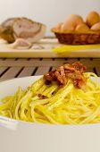 stock photo of guanciale  - Spaghetti alla carbonara - JPG