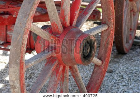 Picture or Photo of Old red wagon wheel