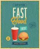 Vintage Fast Food Poster. Vector illustration.