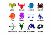 picture of pisces horoscope icon  - Set of astrological zodiac symbols - JPG