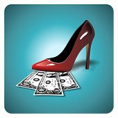 stock photo of high heels shoes  - Dollar bills under a red woman shoe - JPG
