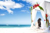 loving couple on wedding day near bamboo arch with flowers on tropical sea background