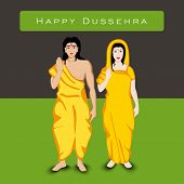 pic of navratri  - Indian festival Happy Dussehra background with white silhouette of Hindu community Lord Rama with his wife Sita - JPG