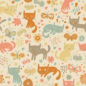 foto of summer insects  - Bright seamless pattern with cats and butterflies in flowers - JPG