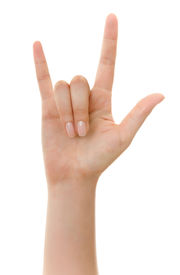 image of hughes  - Hand sign isolated on white with clipping path - JPG