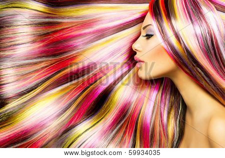 Beauty Fashion Model Girl with Colorful Dyed Hair. Colourful Long Hair. Portrait of a Beautiful Girl poster
