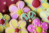 stock photo of easter candy  - Flowers Cookies background of traditional Easter Gingerbread - JPG