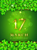 Happy St. Patrick's Day celebration poster, banner or flyer with golden text and clover leaves on gr