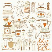 image of pepper  - Vintage kitchen set in vector - JPG