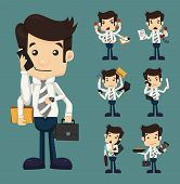 pic of clipboard  - Set of businessman with many hands in elegant suit working hold notepad clipboard cell phone paper document contract eps10 vector format - JPG
