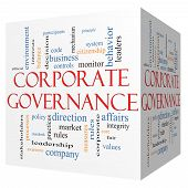 Corporate Governance 3D Cube Word Cloud Concept