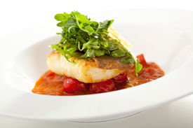 picture of halibut  - Halibut Fillet with Tomato Sauce and Rucola - JPG