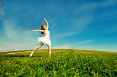 stock photo of jumping  - Woman jumping - JPG