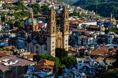 stock photo of taxco  - View Over The Cathedral Of Taxco - JPG
