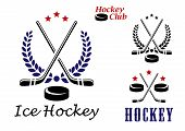 stock photo of ice hockey goal  - Ice hockey emblems and icons with puck - JPG