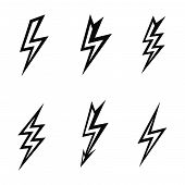 stock photo of lightning  - vector lightning silhouettes on white background  icon set - JPG
