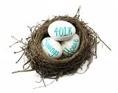 stock photo of nest-egg  - A birds nest showing eggs with 401k house and savings - JPG