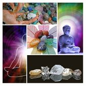 picture of holistic  - A collage of five holistic images showing a crystal healer choosing stones - JPG