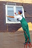 picture of mosquito  - Installation of plastic windows with mosquito nets in the frame house - JPG
