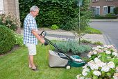 stock photo of grass-cutter  - Dutch senior smiling and mowing his front yard grass with an electric mower as spare time activity after retirement - JPG
