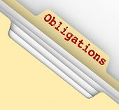 pic of mandate  - Obligations word on a manila file folder full of documents outlining your financial - JPG