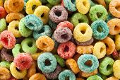 foto of cereal bowl  - Coloful Fruit Cereal Loops in a Bowl - JPG