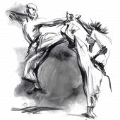 image of karate  - An hand drawn illustration in calligraphic style from series Martial Arts - JPG