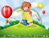foto of hilltop  - Illustration of a hilltop with a mother and a daughter - JPG