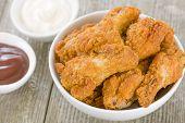 stock photo of chicken wings  - Fried Hot Chicken Wings  - JPG