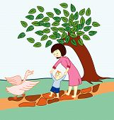 foto of mother goose  - Baby learning to walk and guided by his mother - JPG