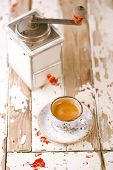 image of wooden box from coffee mill  - Coffee cup on old wooden table - JPG