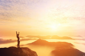 image of future  - Happy man with hands up on the top of the world - JPG