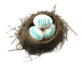 foto of nest-egg  - A birds nest showing eggs with 401k house and savings - JPG