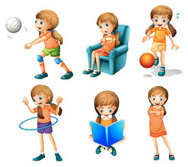 picture of hulahoop  - Illustration of the different activities of a young lady on a white background - JPG