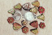 image of pecan tree  - Various homemade gingerbread on tablecloth ready to eat - JPG