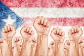 pic of labourer  - Puerto Rico Labour movement workers union strike concept with male fists raised in the air fighting for their rights Puerto Rican national flag in out of focus background - JPG