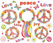 stock photo of hippy  - Hippie flowers wreath - JPG