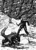 picture of beast-man  - Man and wolf ready to fight at night in the snowy forest - JPG