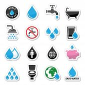 image of save water  - Vector icons set of water - JPG