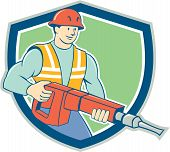 picture of hammer drill  - Illustration of a construction worker with jack hammer pneumatic drill set inside shield crest on isolated background done in cartoon style - JPG