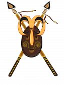picture of spears  - graph showing an african mask placed on two spears - JPG