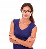 image of spectacles  - Attractive female with spectacles looking at you smiling in white background - JPG