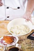 image of noodles  - Chef cooking Noodle with vegetable oil / Cooking Noodle concept ** Note: Shallow depth of field - JPG