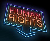 foto of human rights  - Illustration depicting an illuminated neon sign with a Human Rights concept - JPG