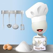 stock photo of faceless  - Vector faceless chef with a bag of wheat flour - JPG