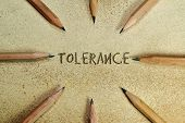 stock photo of stop hate  - Pencils in simple conceptual expression as an appeal for tolerance - JPG