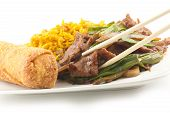 picture of scallion  - Take out Chinese sauteed fried beef strips with scallion served with an egg roll and pork fried rice - JPG